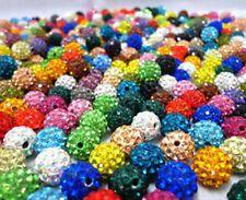 10Pcs Clay Spacer Beads Crystal Rhinestones Round Disco Ball Fashion Pave Czech