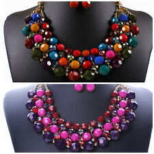 Hot Multiple Round Beaded Torsade Chunky Bib Choker Collar Necklace Earrings Set