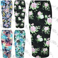 Womens Ladies Floral Roses Summer Stretchy Bodycon Pencil Midi Skirt Plus Size