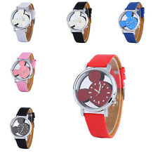 2016 Lovely Mickey Shape Lady Watch Transparent Hollow Dial Leather Kids 6Color