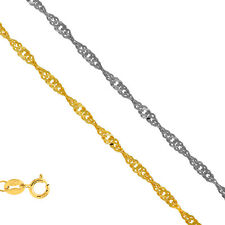 10k Solid Yellow Or White Gold .8mm To 2.2mm Singapore Chain Bracelet Necklace