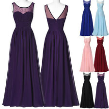Long Chiffon Evening Party Cocktail Dress PINK Bridesmaid Formal Prom Ball Gown