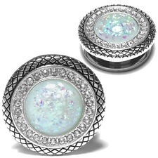 Pair of Sparkling Synthetic White Opal Stainless Steel CZ Ear Plugs Ear Gauges