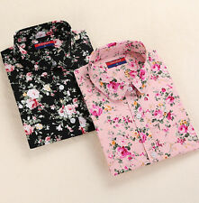 Turn Down Collar New Blouses Blouses Blouse Tops Floral Long Sleeve Shirt