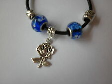Leather Charm Bracelets -Tibetan Silver / Glass Lampwork beads / hearts Handmade