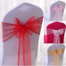 5pcs Organza Chair Cover Sash Bow Wedding Party Anniversary Banquet Venue Decor