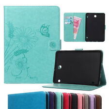 Flower Leather Flip Card Wallet Case Cover For Samsung Galaxy series Tablets PC