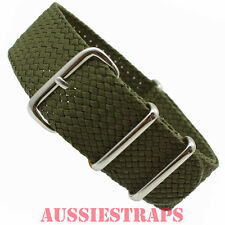 PERLON NATO G10 DARK OLIVE Military Divers Watch Strap Band Nylon Tropic Braided