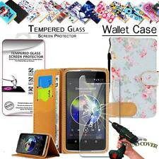 New Leather Wallet Case+Tempered Glass Screen Protector For Alcatel Phones