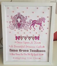 Personalised New Baby, Birth, Christening, 1st Birthday Girl Frame Gift Keepsake