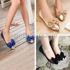 Fashion Women Ballet Shoes Low Heels bow-knot Flat Loafers Metal Pointy Toe Shoe