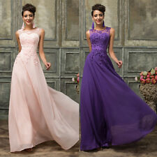 Long Beads Chiffon Bridesmaid Evening Formal Party Cocktail Dress Prom Ball Gown