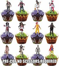 Halloween Zombie & Clown Costume - Fun Fully Edible Cup Cake Toppers Decorations