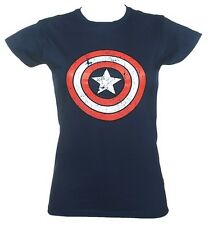 Women's Blue Captain America Distressed Shield Marvel T-Shirt