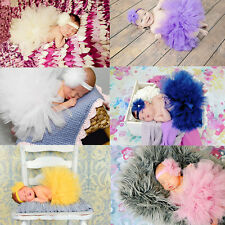 Sweet Newborn Baby Girl Tutu Skirt & Flower Headband Photo Prop Costume Outfit