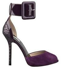 NEW WOMENS GUESS REMONIA PURPLE LEATHER HIGH HEELS BUCKLE STILETTO TOE SHOE