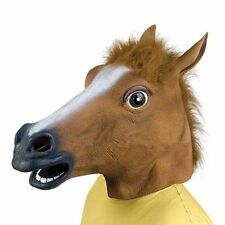 Hot Cosplay Halloween Horse Head Mask Latex Animal ZOO Party Costume Prop FR