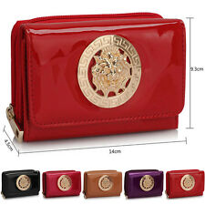 New Small Ladies Wallet Patent Faux Leather Trifold Matinee Women Coin Purse UK
