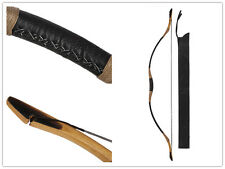 Handmade hunting Longbow Cow Leather Bow Recurve Archery With OX Horn 20-60lb