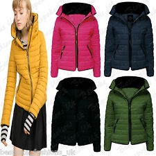 NEW LADIES WOMENS PADDED QUILTED PUFFER BUBBLE FUR COLLAR JACKET COAT