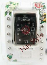 Ed Hardy TEMPTRESS skull rose Leather Watch Black or White NEW