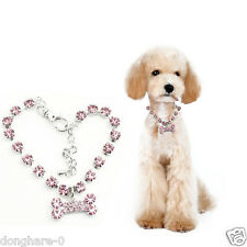 Bone Charm crystal pet accessories Dog quick release collars Puppy Necklace