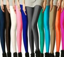 Womens Pants Footless Shiny Disco Tights High Waisted Candy Colors 2016