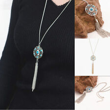 Womens Fashion Retro Turquoise Feather Pendant Long Sweater Chain Necklace GIFT