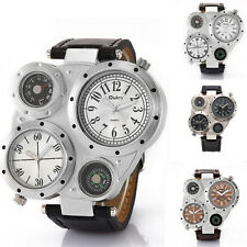 OULM 9415 Military Dual Time Zone Sports Mens Stainless Steel Quartz Wrist Watch