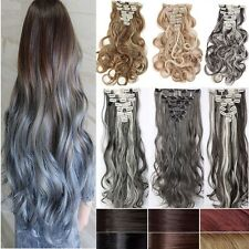 Long straight curly wavy full head clip in hair extensions 8pieces for human H84