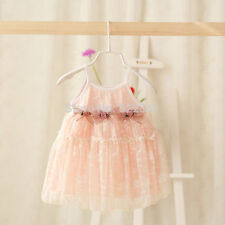 New Baby Girls Lace Pink Dress Floral Sleeveless Infant Pageant Party Dress