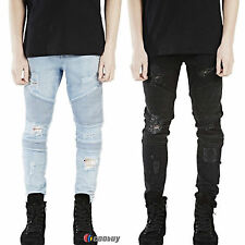 Mens Designed Straight Slim Biker Destroyed Jeans Denim Casual Trousers Pants