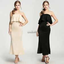Fashion Womens Ladies Off Shoulder Ruffle Dress Sexy Maxi Long Party Dress EA9