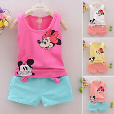 Mickey Mouse Kids Girls Sleeveless T-shirt Tops+Pants 2pcs Clothes Outfits Sets