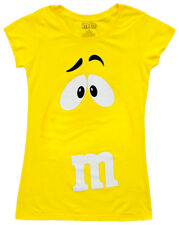 Juniors Womens M&M's Chocolate Candy Silly Character Face Yellow T-Shirt Tee