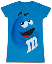 Juniors Womens M&M's Chocolate Candy Silly Character Face Blue T-Shirt Tee