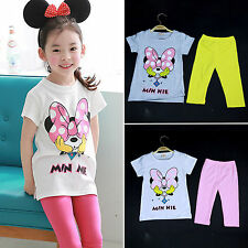 2Pcs Kids Girls Minnie Mouse T-shirt Tops+Pants Cartoon Clothes Outfit Sets 4-9Y