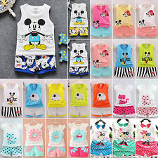 Toddler Kids Girls Mickey Mouse Tops T-Shirt+Shorts Pants Summer Outfits Sets