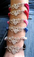 NEW RHINESTONE LOVE HEART WINGS CHARM WITH NYLON BRACELET-O/S YOU CHOOSE COLOR