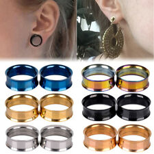 2pcs Stainless Steel Double Flared Tunnels Ear Flesh Plugs Earlet Stretcher Punk