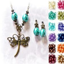 Charm Necklace Earrings Set Bronzed dragonfly, choose color,clip on or pierced