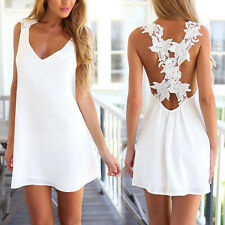 Women's Sexy Backless Sleeveless Casual Party Evening Cocktail Short Mini Dress