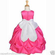 Fuchsia Pink Flower Girl Dress Pageant Taffeta Gown Lg 2T 3T 4T 5T 6 6x 7 8 9 10