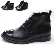 Men vintage real leather cap toe front covered lace up zip side gore ankle boots