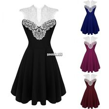 Women Sexy Sleeveless Lace High Waist Pleated Casual Party Cocktail Dress EA9