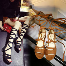 Women Girls Cheap Rome Bandage Strappy Sandals Sexy Mid Heels Shoes New 2016