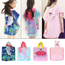 Hooded Microfibre Poncho Beach Swimming Towel Kids Childrens Cartoon Towel Bath