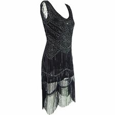1920s Long Tassel Dress Deco Gatsby Vintage Sequin Cocktail Party Ball Gown 7