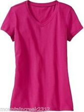 New OLD NAVY Girl's Shirt Size 6 7 V-Neck Short Sleeve Cotton Tee Pink Small
