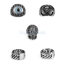 Men's Gothic Punk Skull Eyeball Claw Totem Biker Stainless Steel Ring US Size 11